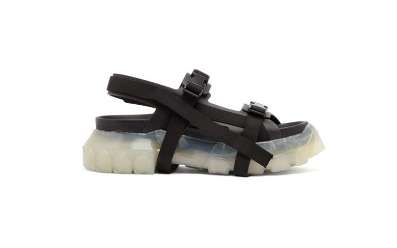 Rick Owens Black Tractor Leather and Canvas Sandals