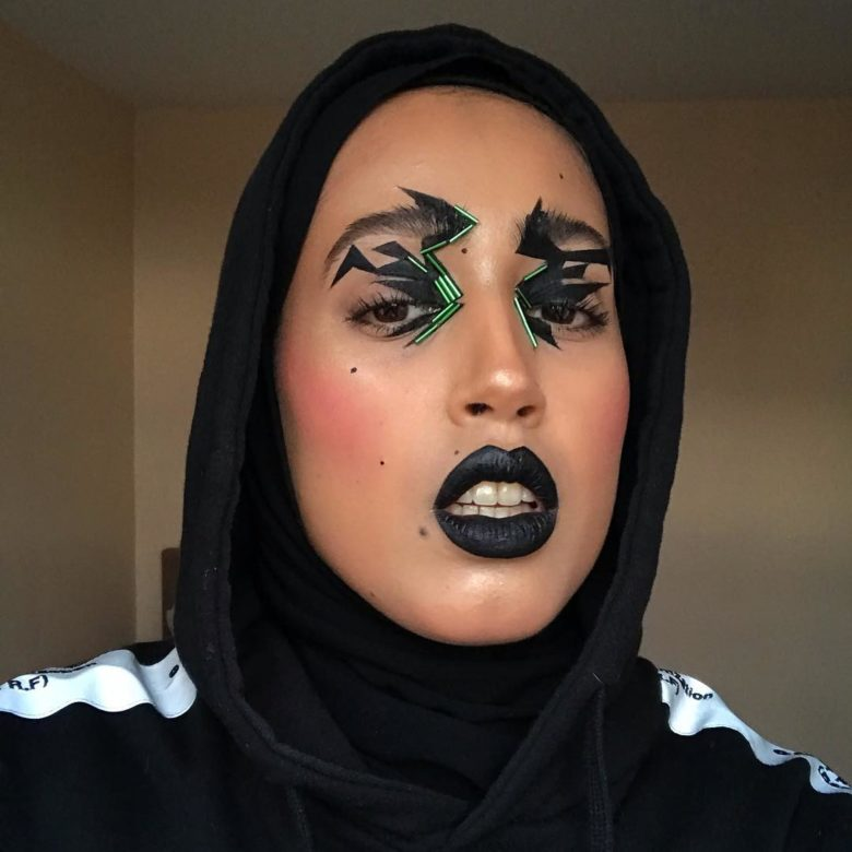 salwa rahman black makeup look
