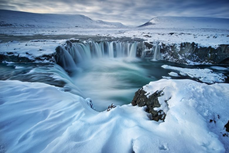 glaciers and waterfall in Iceland
