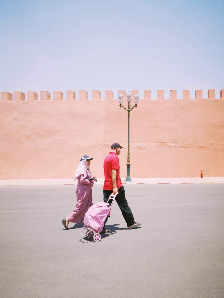 a man and woman walking, Morocco