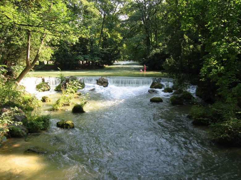 Eisbach river in Munich