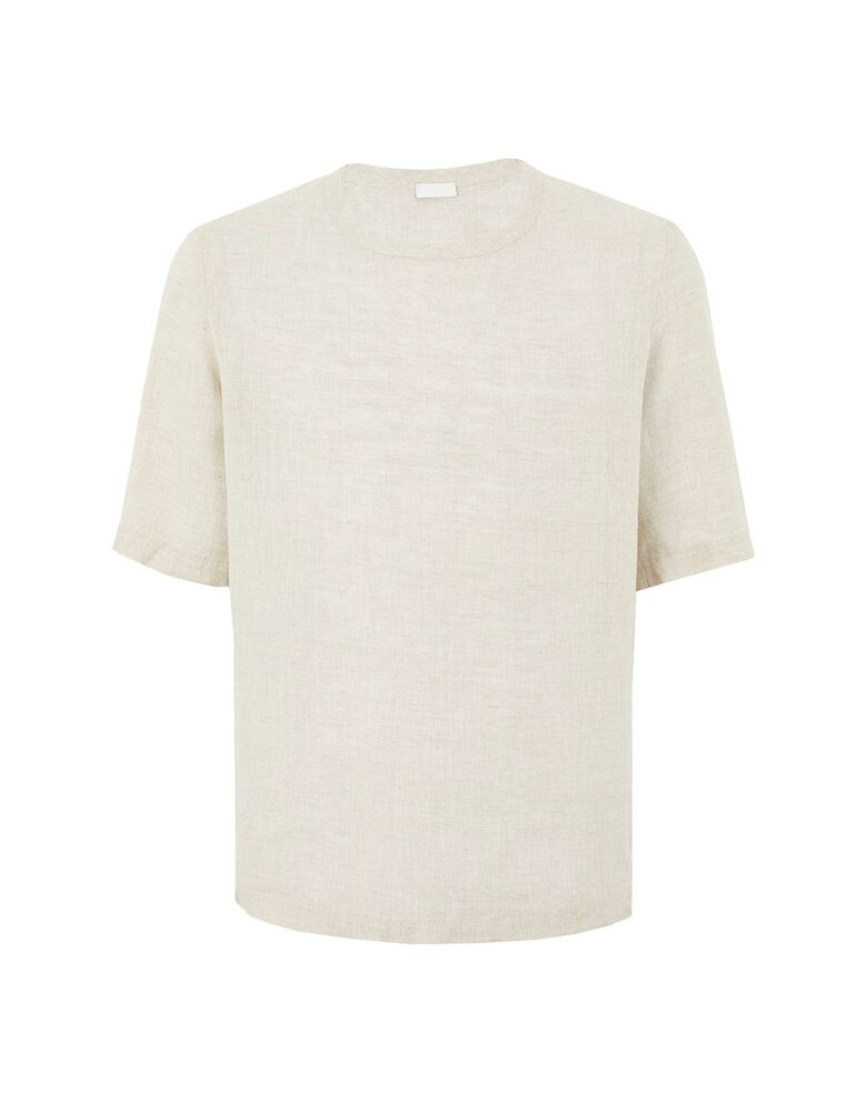 8 by YOOX LINEN LOOSE FIT S/SLEEVE T-SHIRT